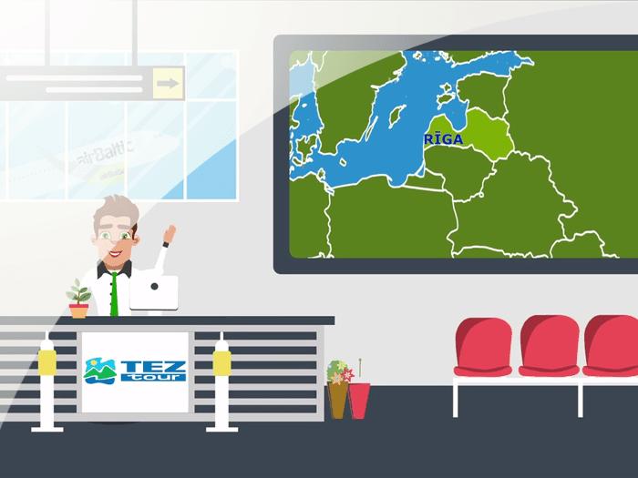 Balttour Rīga. Uzņēmuma TezTour animācijas reklāmas video veidošana